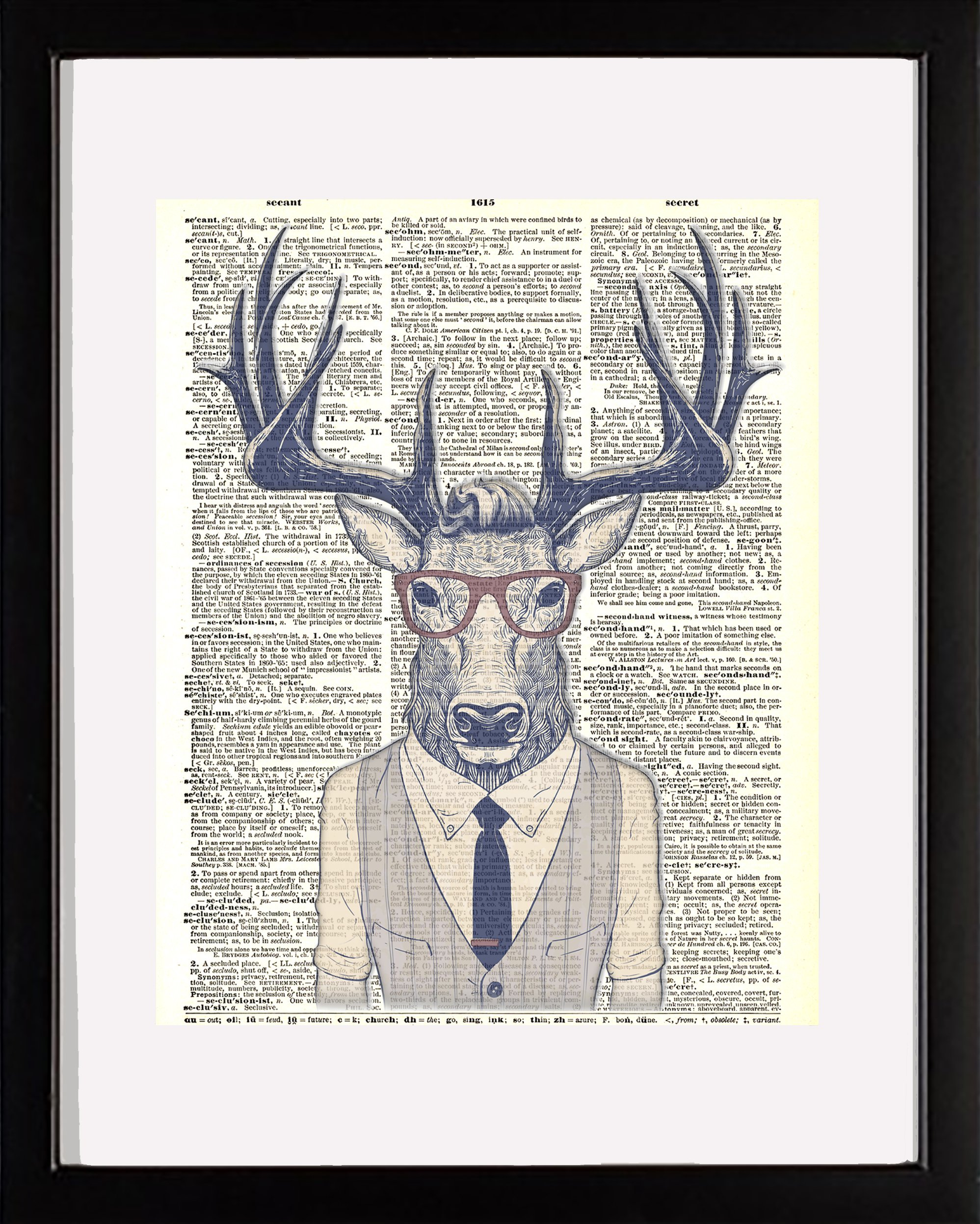 Ombura Hipster Deer - Deer in Vest and Glasses Dictionary Wall Art Print. 8x10 Home Wall Décor. Ideal, Unique Artwork for Men, Women and Teens for Any Animal Art Lover. Frame Not Incl.