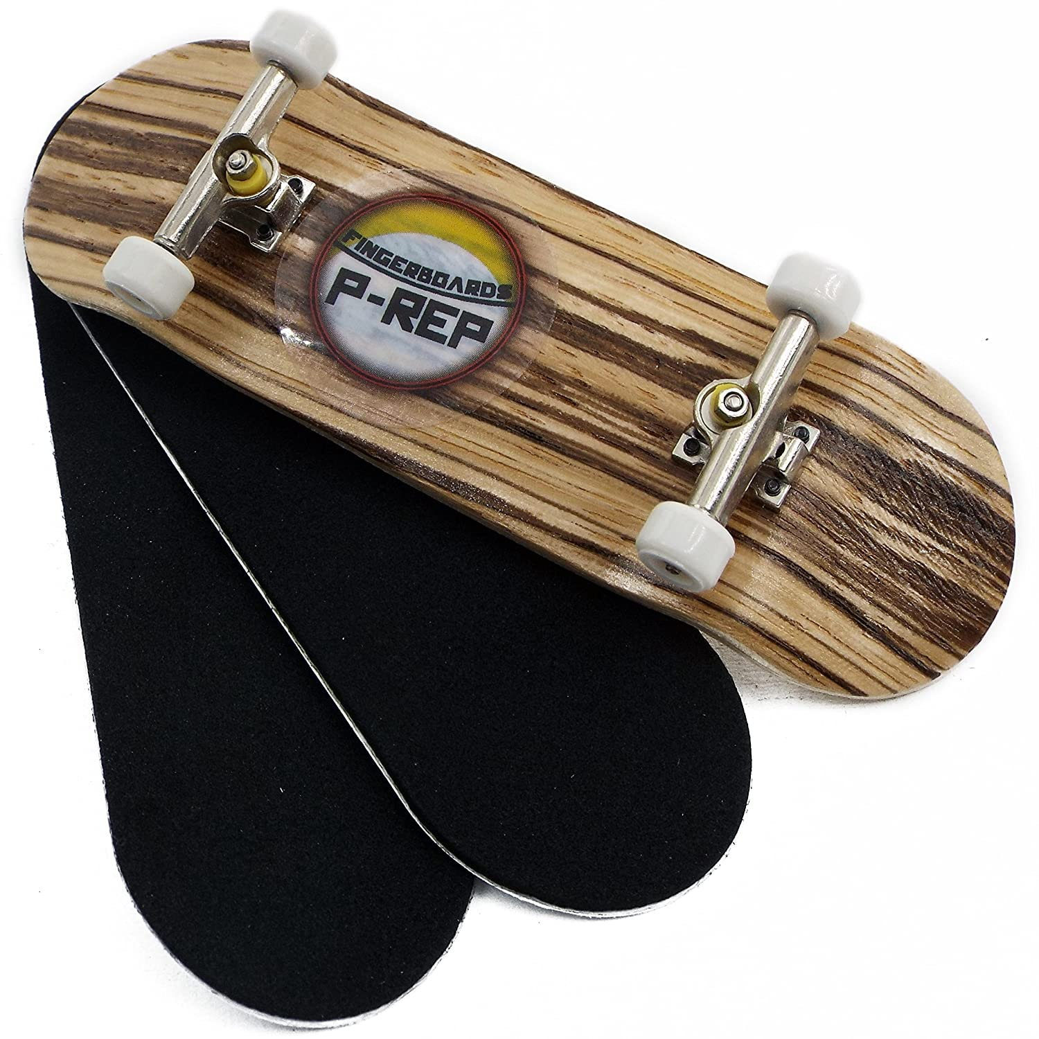 P REP Zebra Complete Wooden Fingerboard with Basic Bearing Wheels Starter Edition