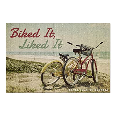 Jekyll Island, Georgia - Biked It, Liked It - Bicycles and Beach Scene (Premium 1000 Piece Jigsaw Puzzle for Adults, 20x30, Made in USA!): Toys & Games