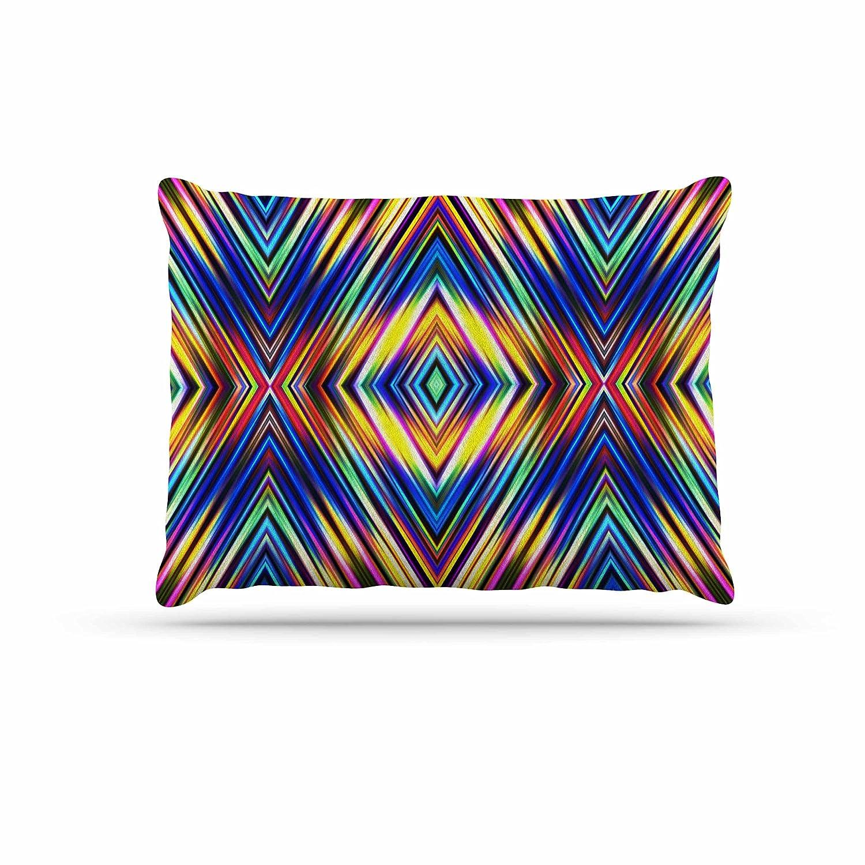 KESS InHouse Dawid ROC Geometric Stripes Abstract Green Stripes Dog Bed, 50  x 40