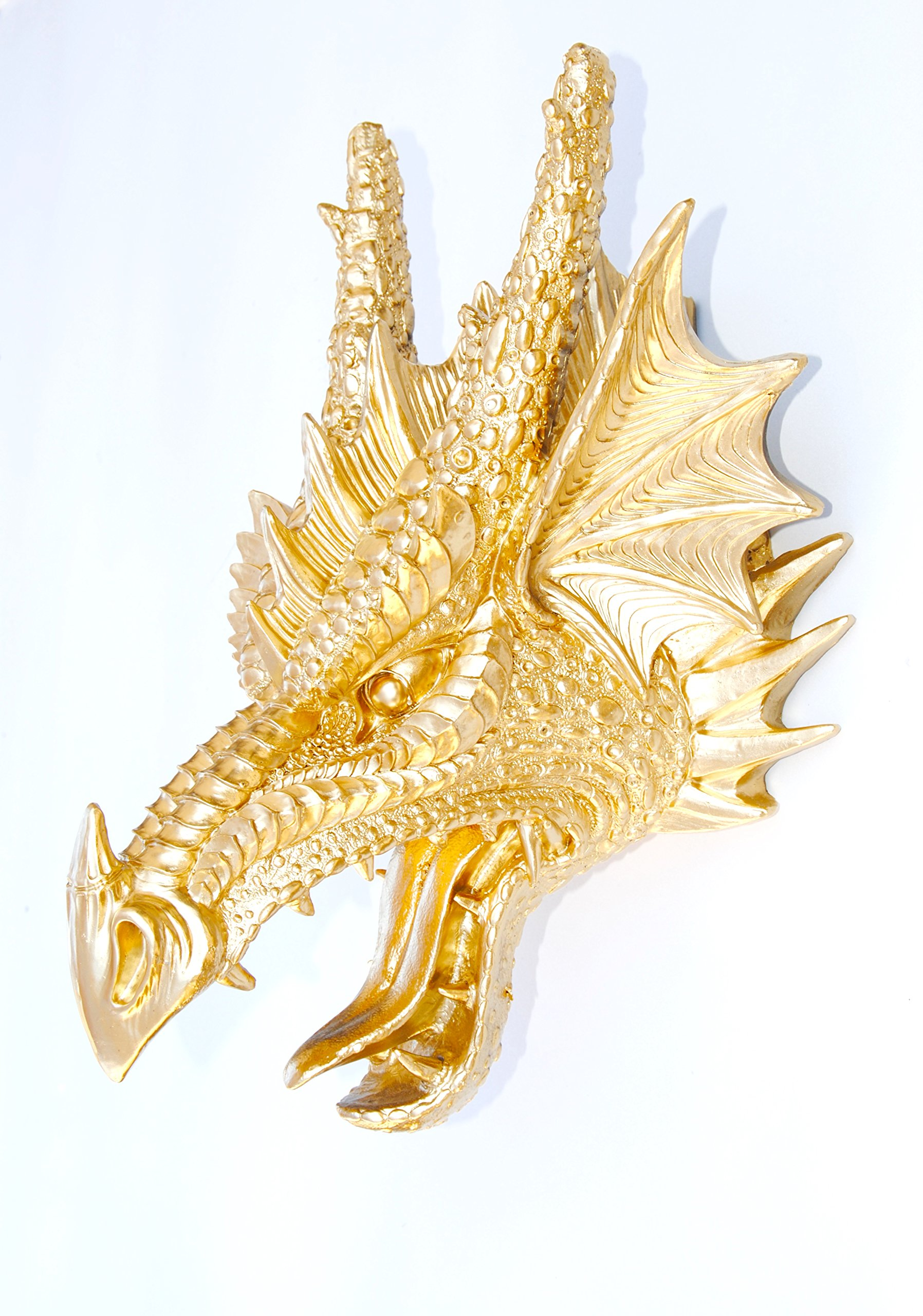 Near and Deer Faux Taxidermy Dragon Head Wall Mount, Metallic Gold by Near and Deer