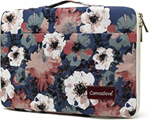 Canvaslove Camellia Waterproof Corner Protection Laptop Sleeve Bag case with Pockets and Handle for MacBook Air Pro 13 and 13 inch to 13.5 inch Laptop