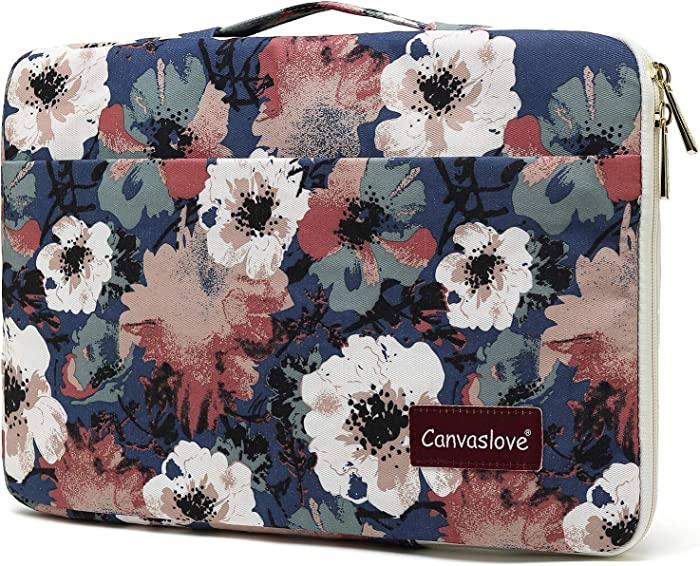 Canvaslove Camellia Conner And Bottom Rebound Bubble Protection Waterproof Laptop Sleeve Case with Handle and Pockets for MacBook Pro 16,Surface Laptop 3/Surface Book 2 15 inch and 15.6 inch laptop
