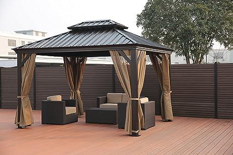 Patio Garden Party Tent Gazebo Canopy with Iron Roof | SORARA | 10u0027 x 12 & Amazon.com : Patio Garden Party Tent Gazebo Canopy with Iron Roof ...