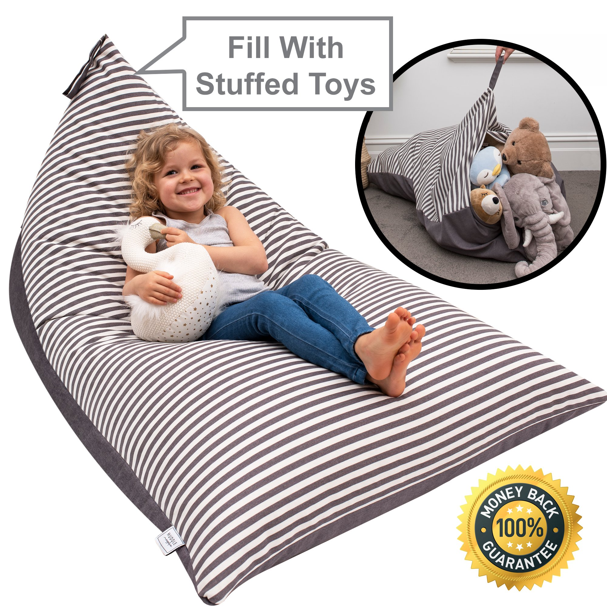 Stuffed Animal Bean Bag Storage ''Stuffie Seat'' - Designer Bean Bag - Stuffed Animal Storage Bean Bag Chair for Kids, Teens and Adults   Extra Large   100% Cotton Premium Canvas