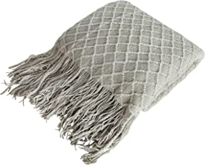 NTBAY Acrylic Knitted Throw Blanket, Lightweight and Soft Cozy Decorative Woven Blanket with Tassels for Travel, Couch, Bed, Sofa, 51 x 67 Inches, Taupe Grid
