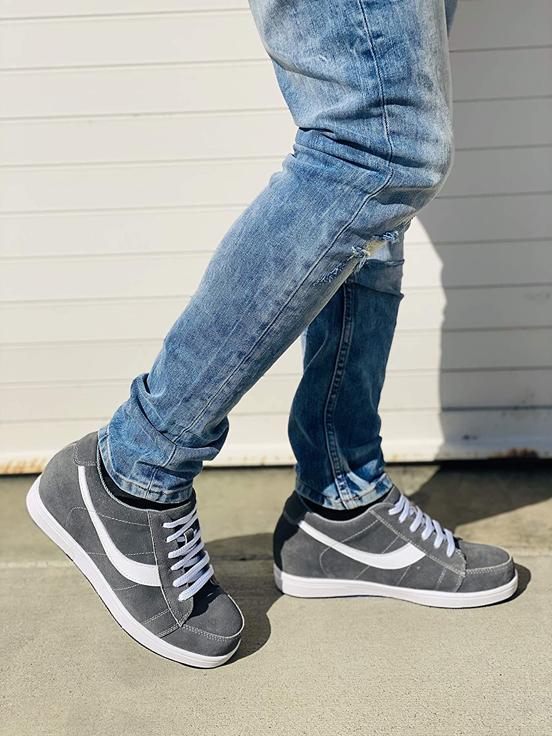 2.8 Inches Taller Toto Mens Invisible Height Increasing Elevator Shoes Lace-up Suede Leather Sneakers