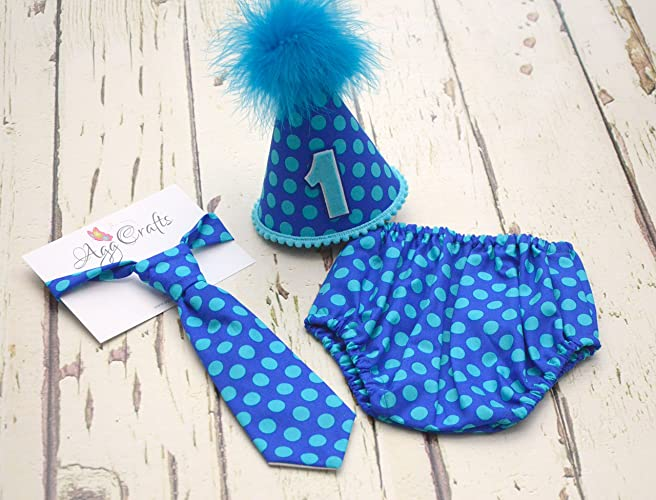 308ec6888 Baby Boys Cake smash outfit in Cobalt dots - Handmade 1st Birthday Outfit -  Toddler Photography