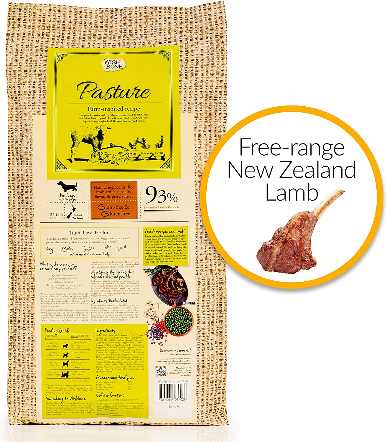 Wishbone Pasture Grain Free and Gluten Free Dry Dog Food, Made from New Zealand Lamb Dog Food, All Natural Dry Dog Food, Rich in Omega 3and High Protein Dry Dog Food, For All Dog Life Stages