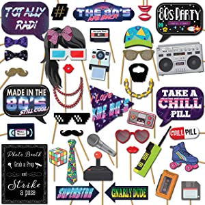 1980s Throwback 80s Party Theme Photo Booth Props Decorations, 41 Pieces with Wooden Sticks and Strike a Pose Sign by Outside The Booth