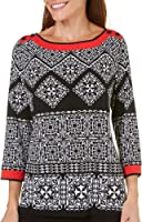 Alfred Dunner Tile Tunic Knit Top