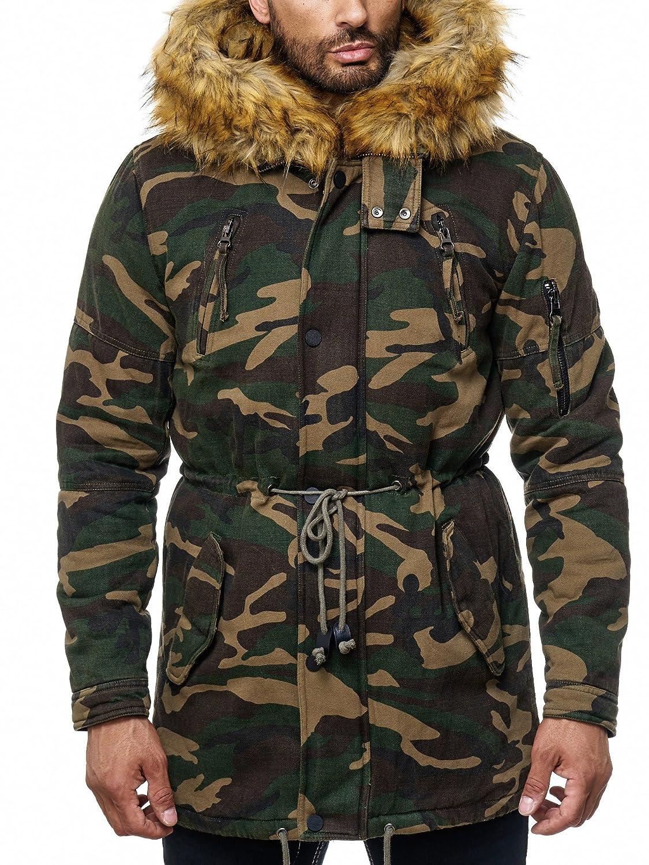 One Public MEGASTYL Herren Jacke Winterjacke Camouflage mit abnehmbaren Kunstfell