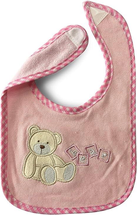 Panini tejidos babero babero oso Bear – Cuidado fácil cierre de velcro – 100% algodón ROSA: Amazon.es: Bebé