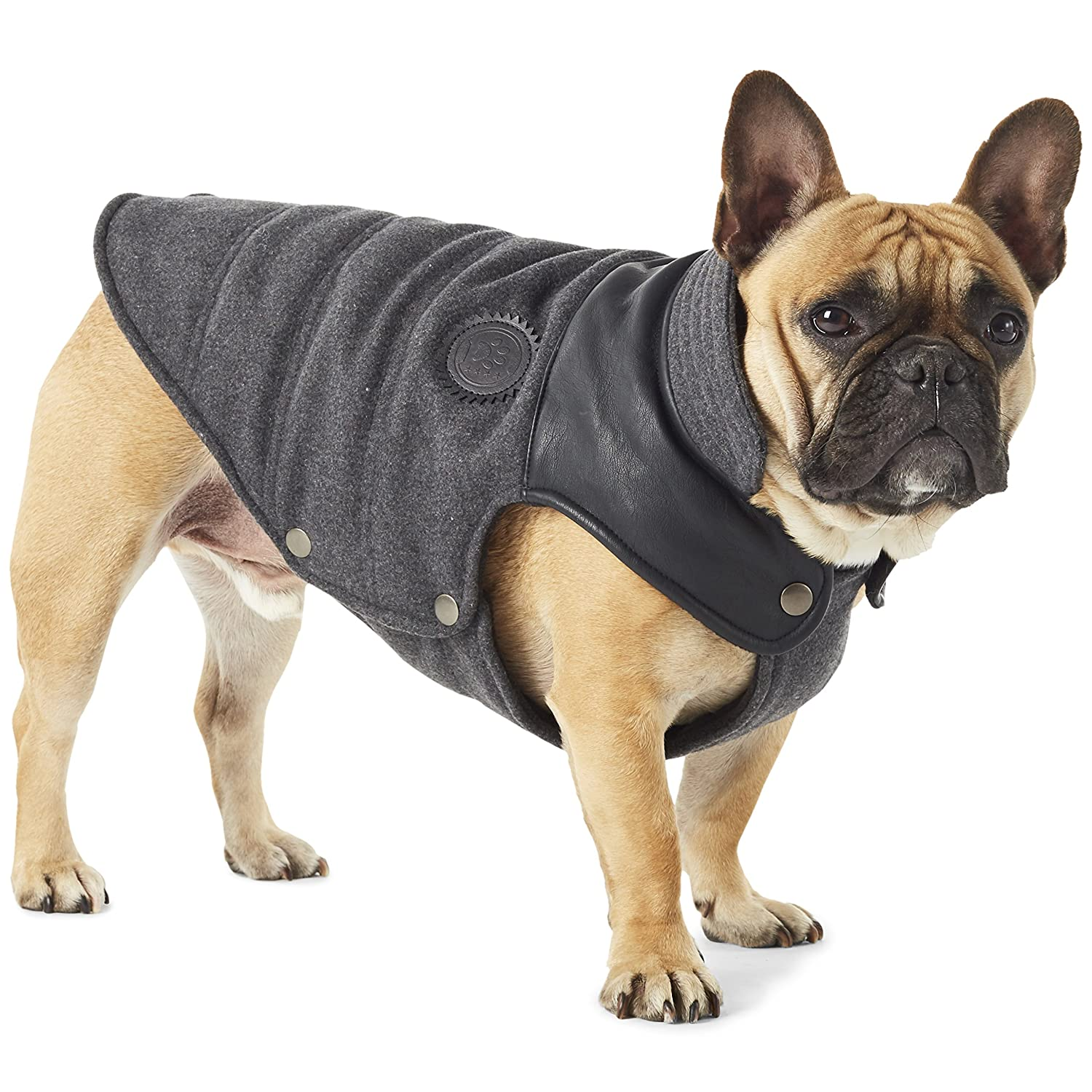 Dark Grey XS Dark Grey XS Hotel Doggy Dog Coat with Vegan Leather Trim   Dark Grey Dog Jacket XS