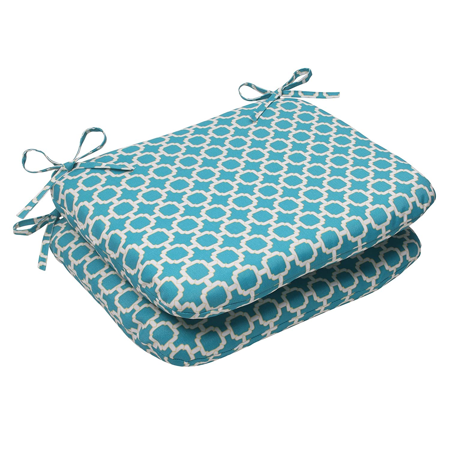Pillow Perfect Outdoor Hockley Rounded Seat Cushion, Teal, Set of 2