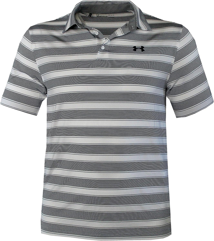White, XXL Under Armour Mens Performance Striped Shirt HeatGear Polo