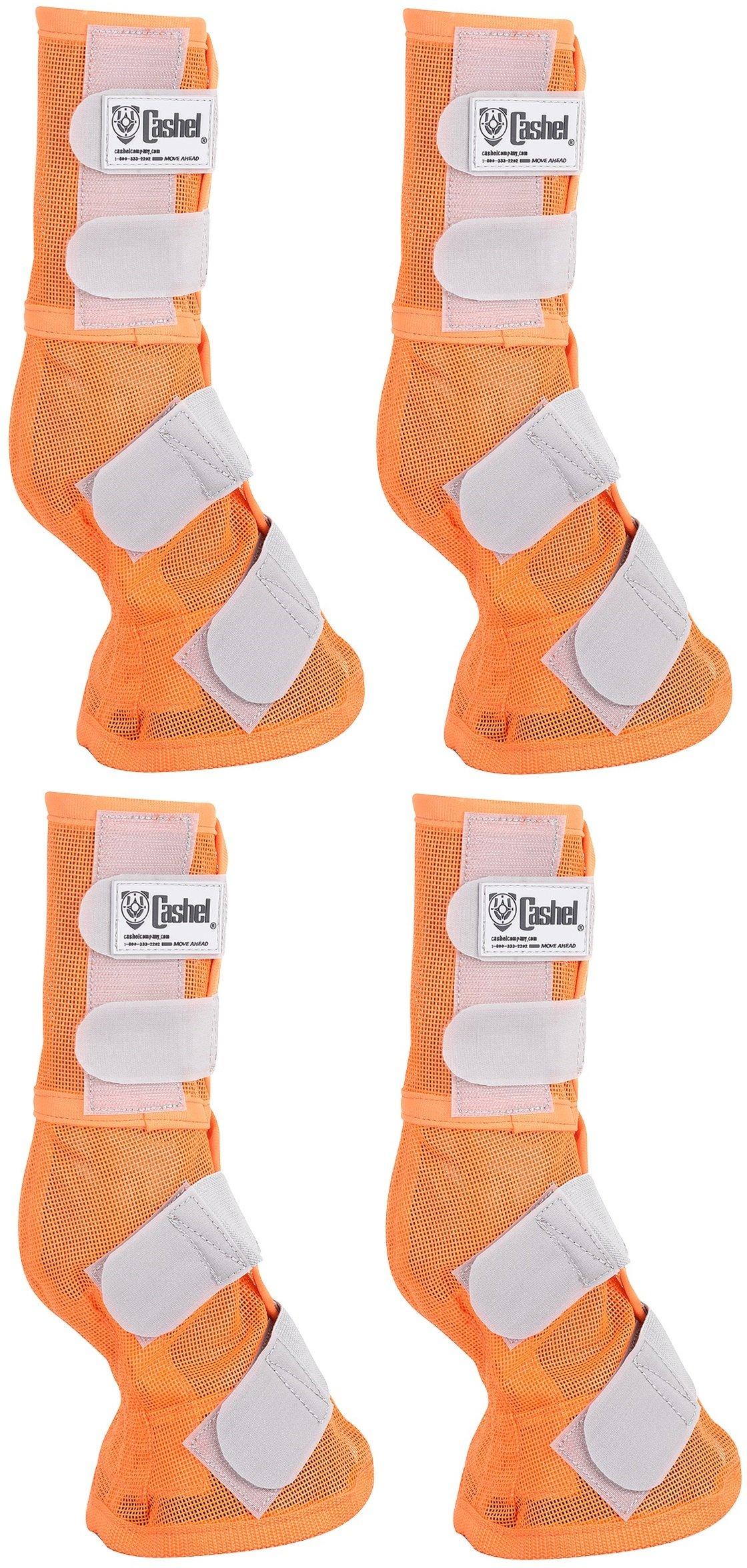 Cashel Crusader Horse Fly Protection Leg Guards Set of Four Sizes (Horse, Orange)