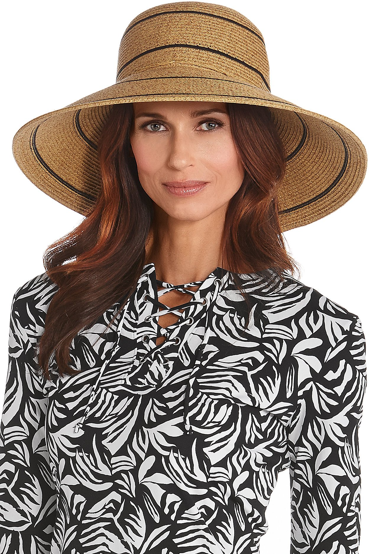 Coolibar UPF 50+ Women's Wide Brim Beach Hat - Sun Protective (One Size- Natural Wide Stripe)