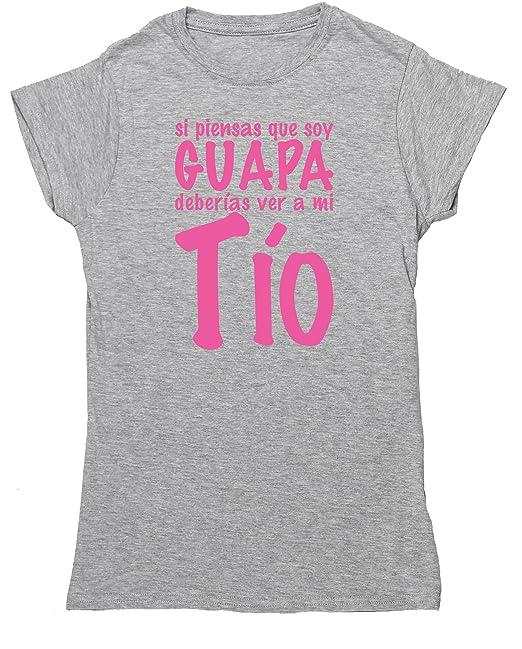 HippoWarehouse Si Piensas que soy guapa Deberías ver a mi Tío camiseta manga corta ajustada para mujer: Amazon.es: Ropa y accesorios