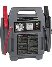 Powerplus, POWE80090 - Kit arrancador de coche y cargador de baterías portátil, 900A, 12V, con compresor de aire, batería y linterna