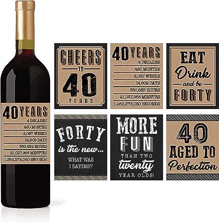 Amazon.com: 6 40th Birthday vino o botella de cerveza ...