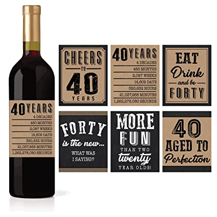6 40th Birthday Wine Or Beer Bottle Labels Stickers Present 1978 Bday Milestone Gifts For
