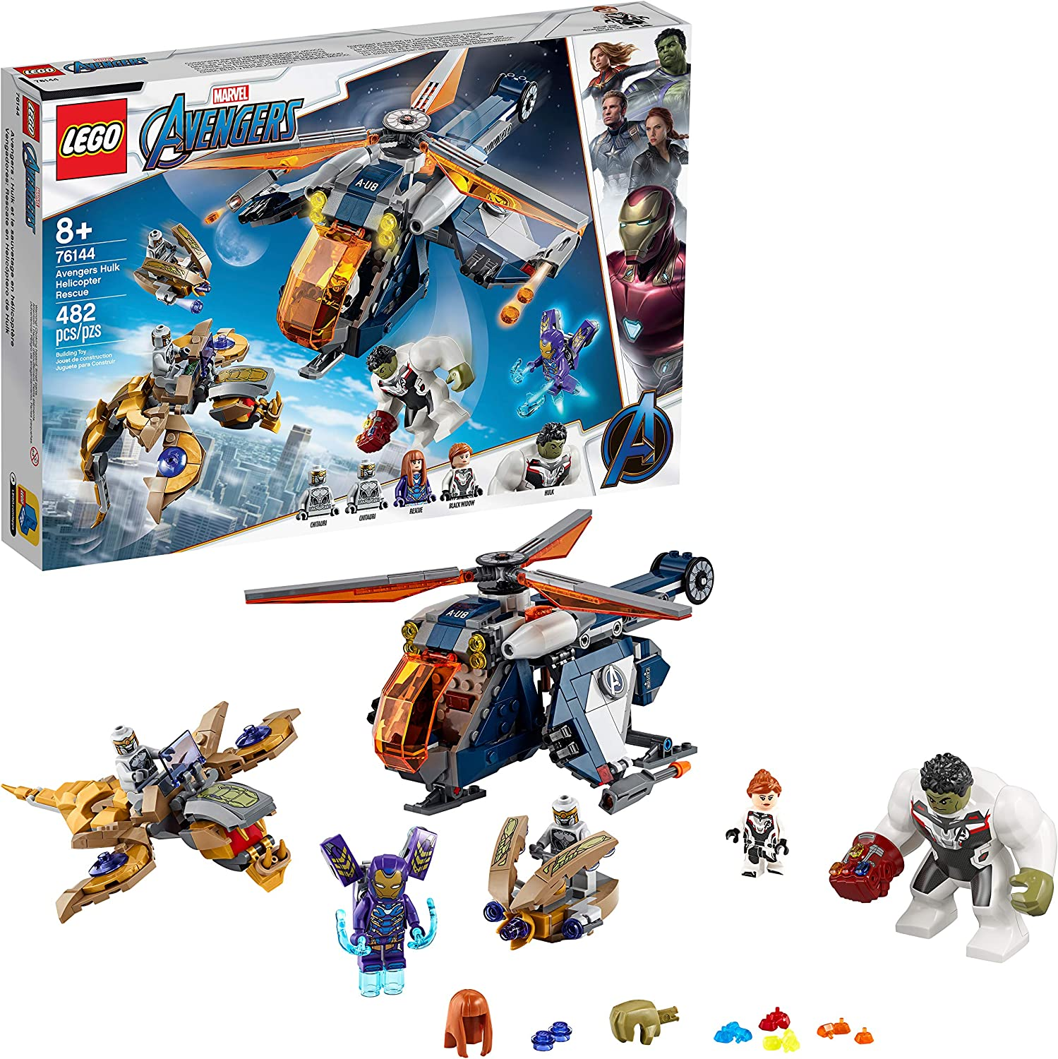 Amazon Com Lego Marvel Avengers Hulk Helicopter Rescue 76144 Building Kit 482 Pieces Multi Toys Games