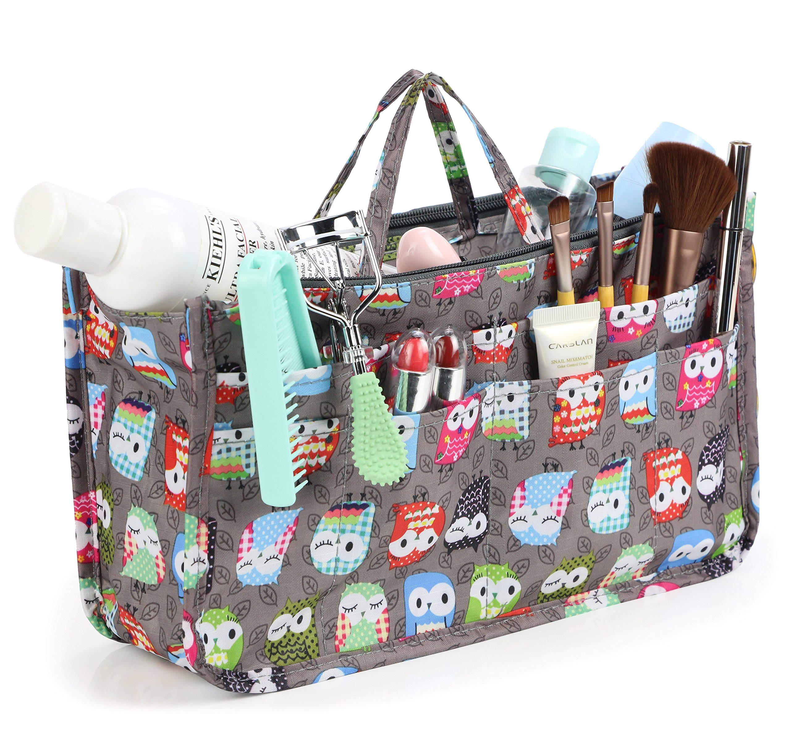 3e0307378156 Amazon.com   Cosmetic Bag for Women Cute Printing 14 Pockets Expandable  Makeup Organizer Purse with Handles (Owl)   Beauty