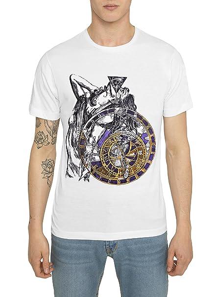 Camisetas Blancas, Negras de Algodón para Hombre, T Shirt Designer Fashion Rock con Estampado