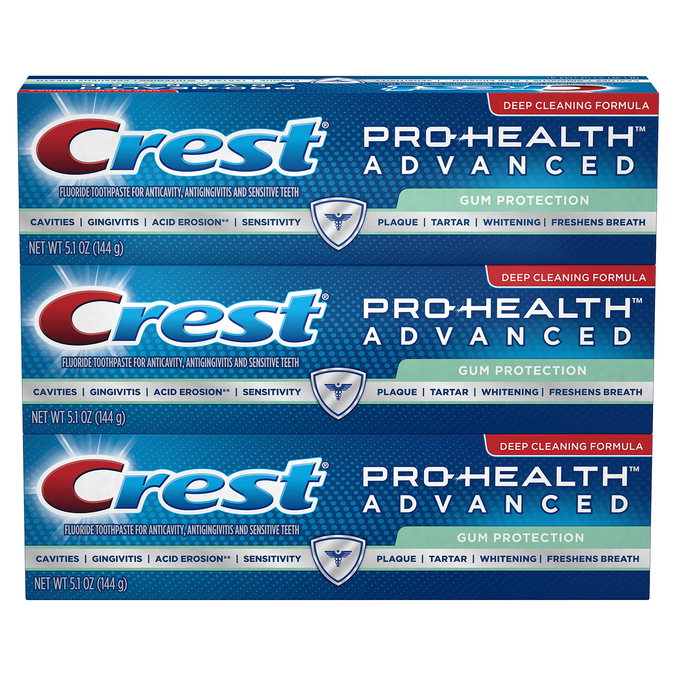 Crest Pro-Health Advanced Toothpaste, Gum Protection, 5.1 oz, Pack of 3, (Cap May Vary Twist off or Flip Cap)