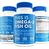 TRIPLE STRENGTH Omega 3 Fish Oil Pills - 120 Softgels By This Is Nutrition - 2500mg With 860mg EPA + 650mg DHA Per Serving - Lubricate Your Mind & Body With MSC Certified Sustainable Fish Oil