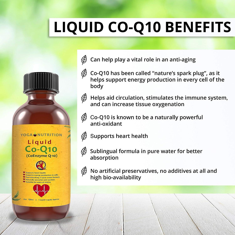 Co-Q10 líquido 120ml sin conservantes ni aditivos artificiales en agua pura.