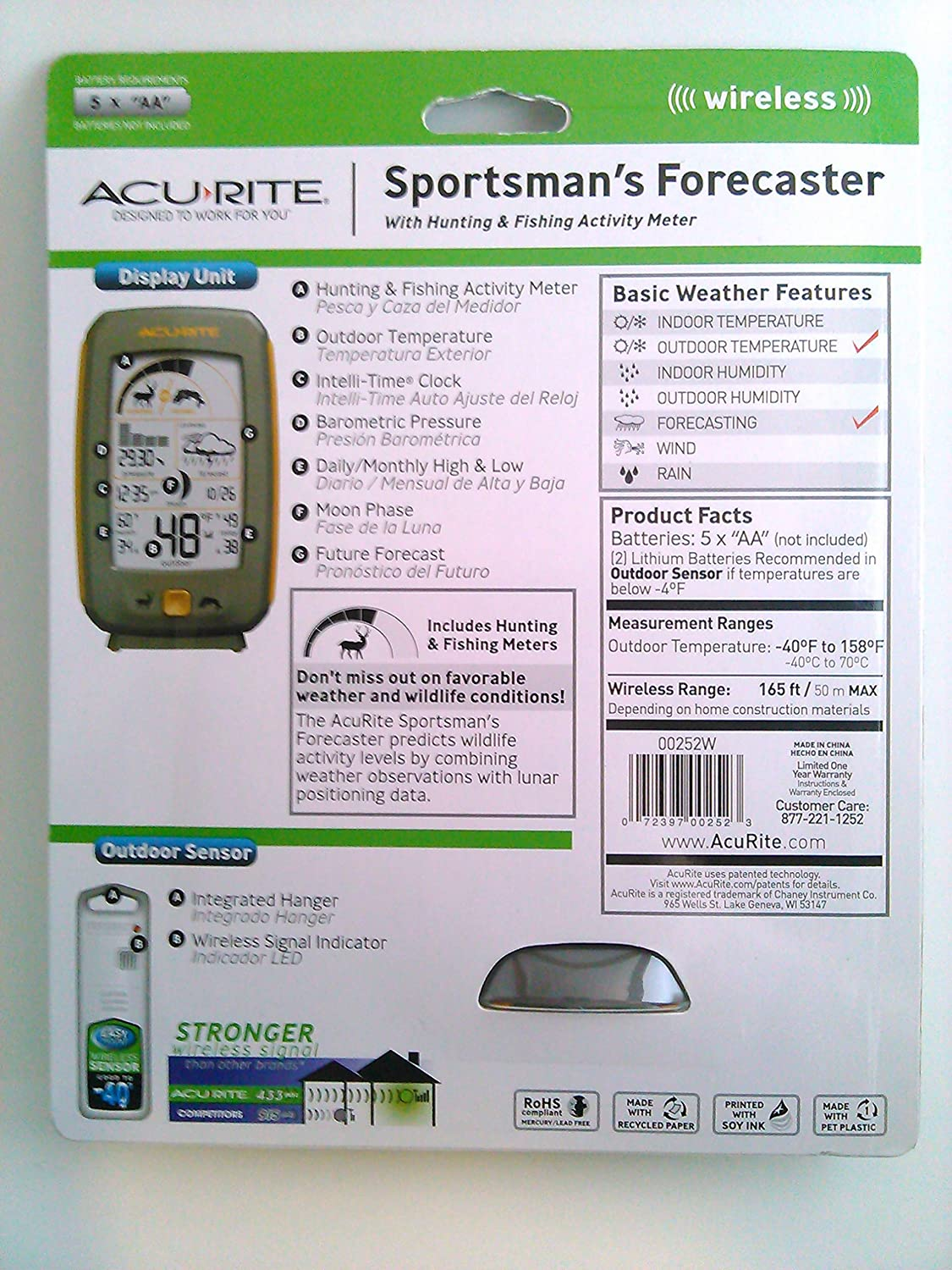 Amazon.com: Acurite Sportsmans Hunting and Fishing Activity Meter and Weather Forecaster, Orange: Home & Kitchen