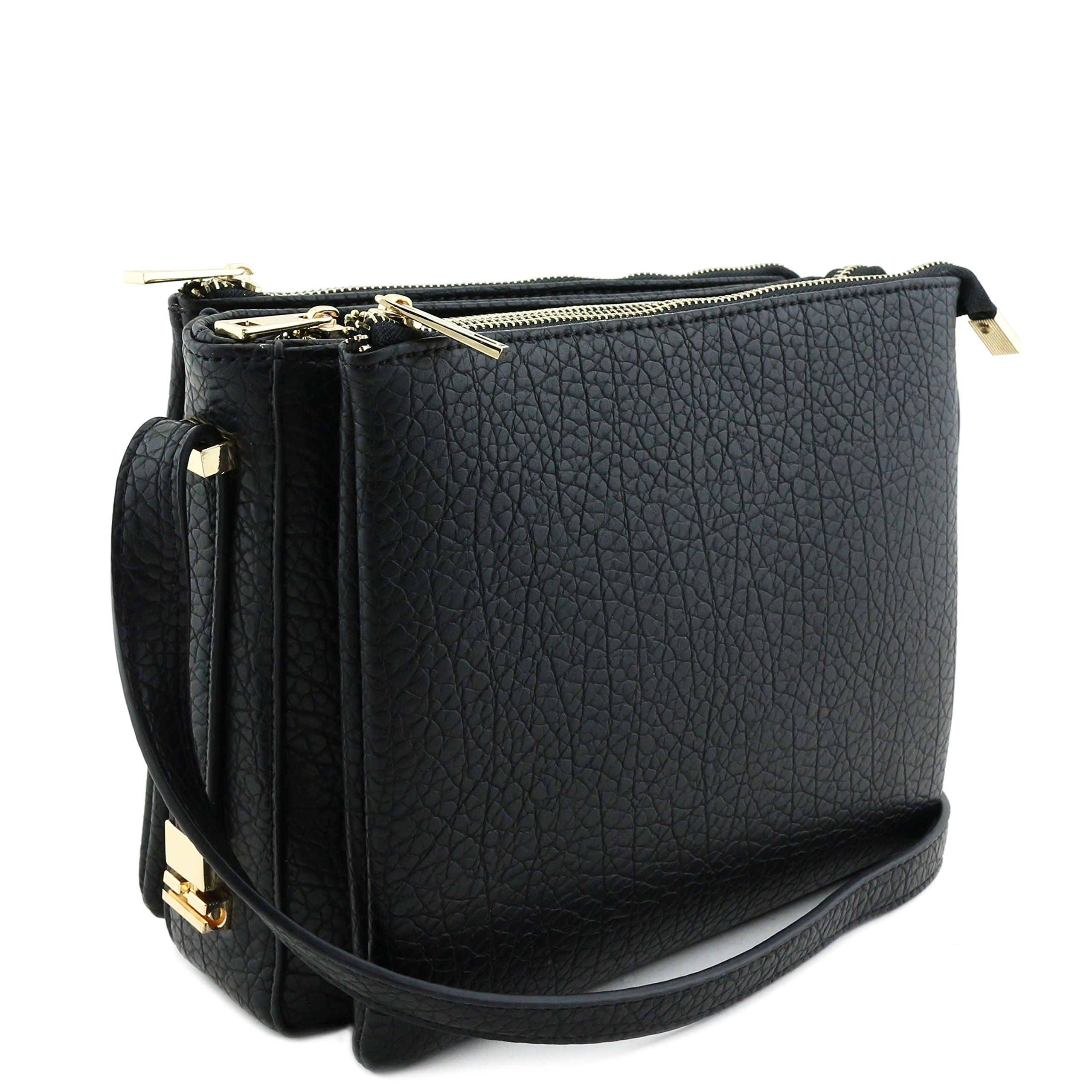 Three Compartment Zipper Top Crossbody Bag Black