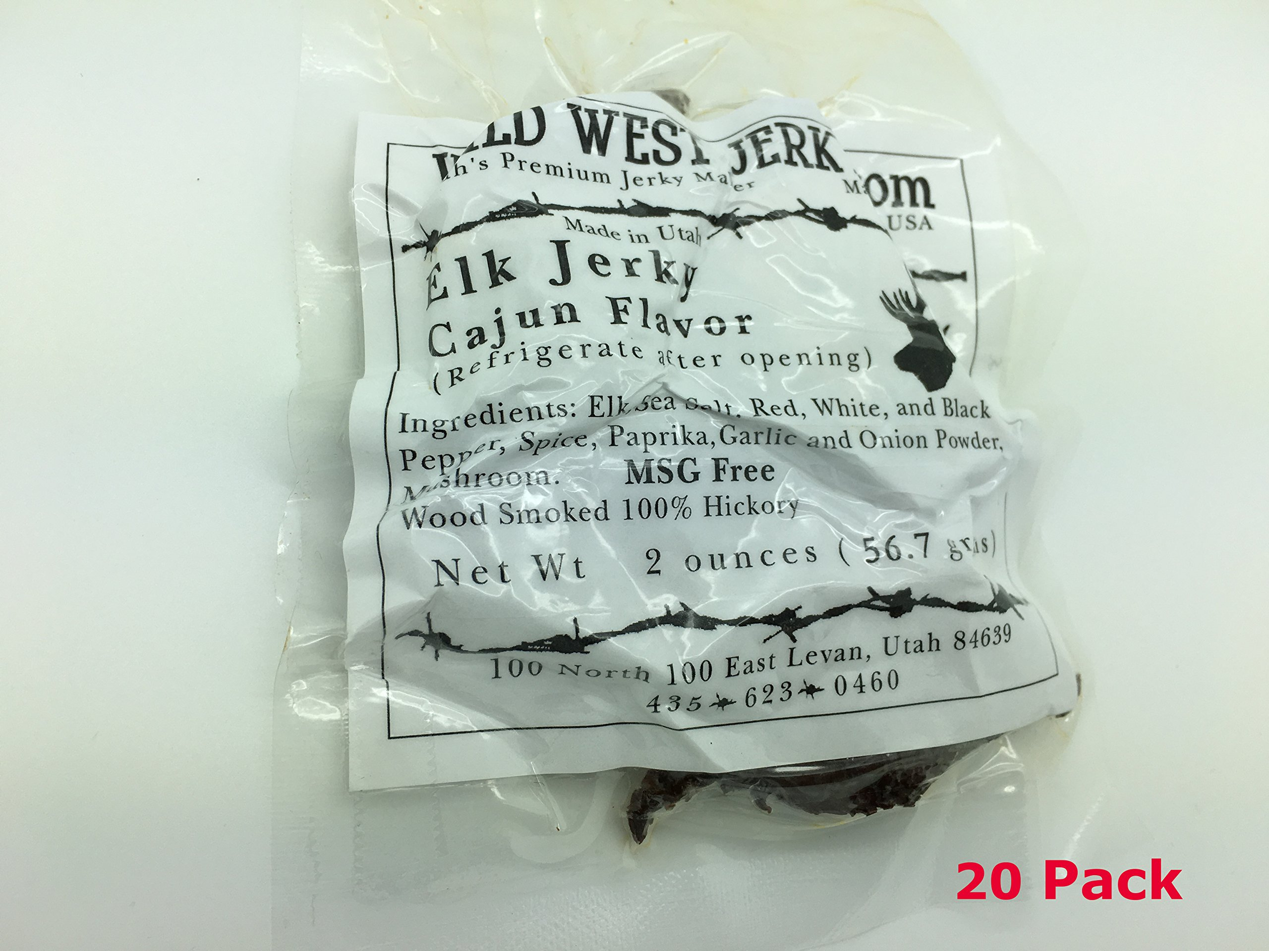 Wild West Jerky #1 Best Premium 100% Natural Grass Fed Hand Stripped 2 OZ. Thick Cut Delicious Tasty Bold Flavor Elk Jerky from Utah USA - Wood Smoked with Hickory Wood (Cajun 20 Pack) by Wild West Jerky