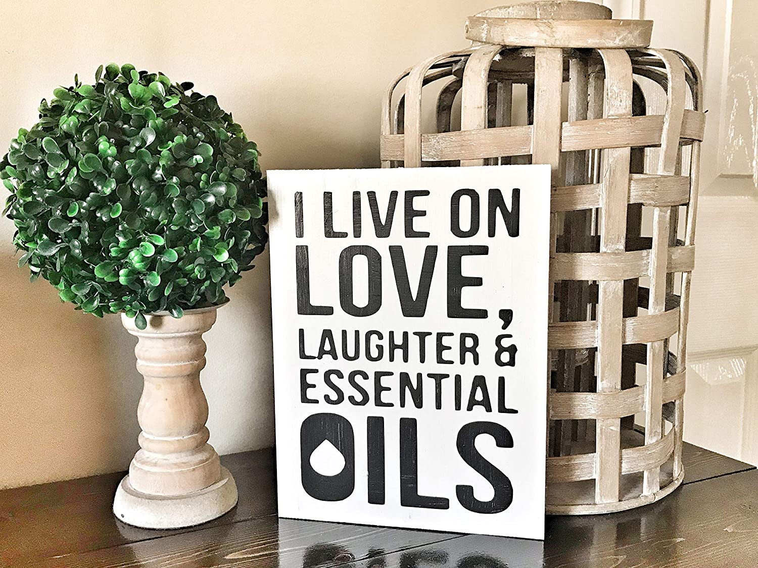 43LenaJon Essential Oils Love, Laughter & Essential Oils Wood Sign,Rustic Wood Wall Sign,Hanging Wood Sign Decor for Garden,Personalized Wooden Farmhouse Welcome Label