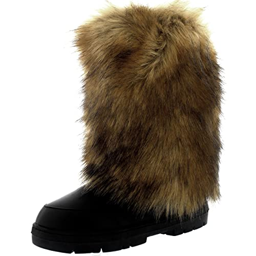 6309572ab59a4 Femmes Grand Fourrure De Lapin Couvert Neige Pluie Imperméable Yeti Esquimau  Hiver Bottes- Noir Cuir