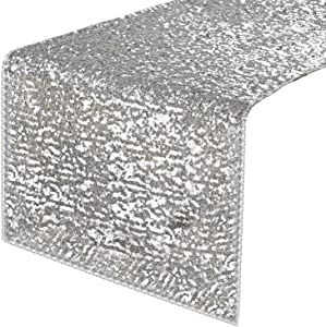 PONY DANCE Sequins Table Runner - Rectangular Sparkling Party/Wedding/Holiday Table Runners for Banquet Event Dinner Decoration Christmas Home Decor, 12 x 108 inches, Silver