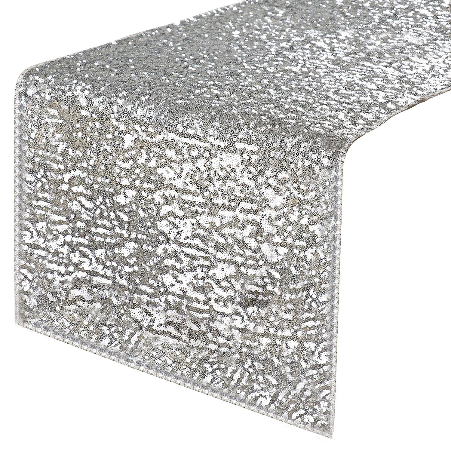 PONY DANCE Sequins Table Runner - Rectangular Sparkling Party/Wedding/Holiday Table Runners for Banquet Event Dinner Decoration Christmas Home Decor, 14'' x 108'', Silver