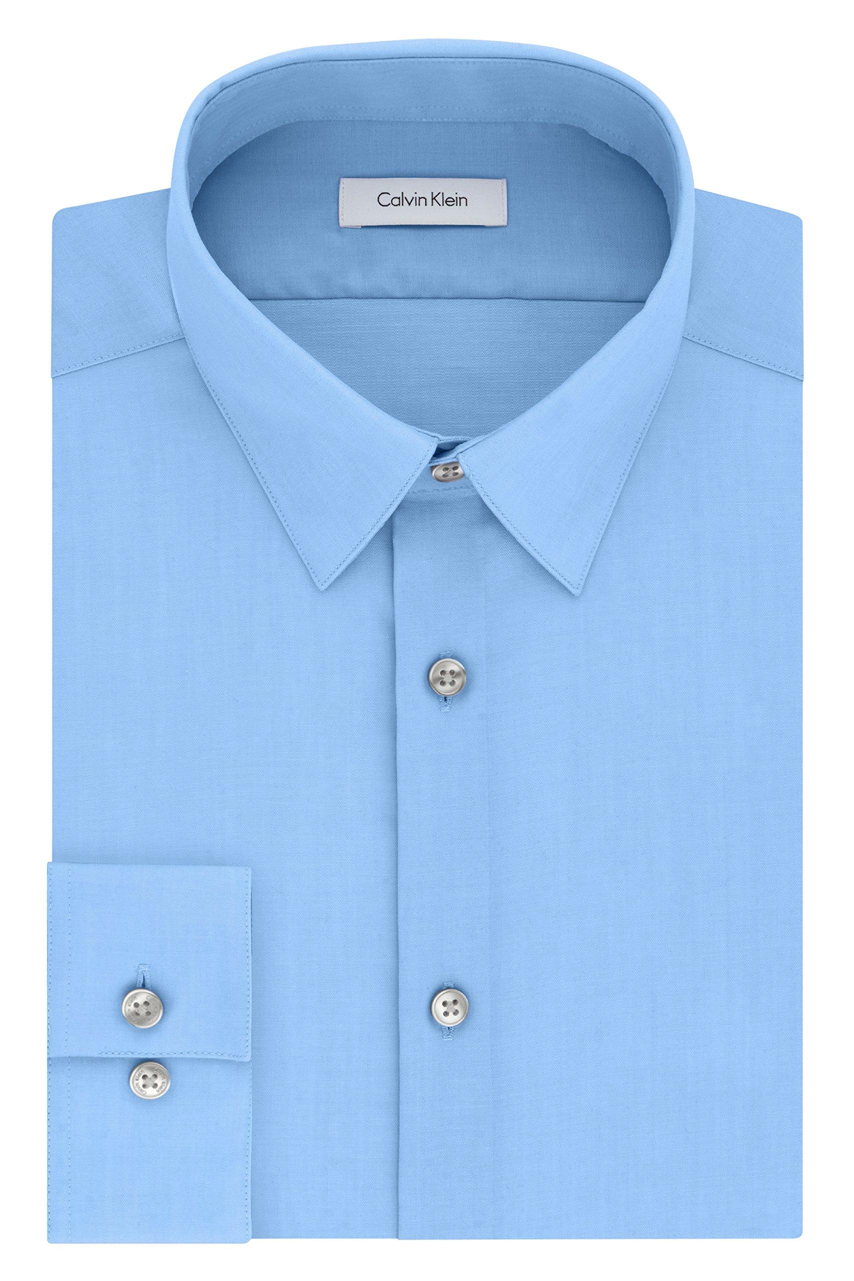 Calvin Klein Men's Slim Fit Non-Iron Herringbone Point Collar Dress Shirt, Mist, 15.5'' Neck 32''-33'' Sleeve
