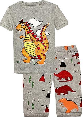 d7a58024e5 Slenily Kids Pajamas Boys Sleepwear Summer Short Pajamas Set Dinosaurs PJS  Size 5