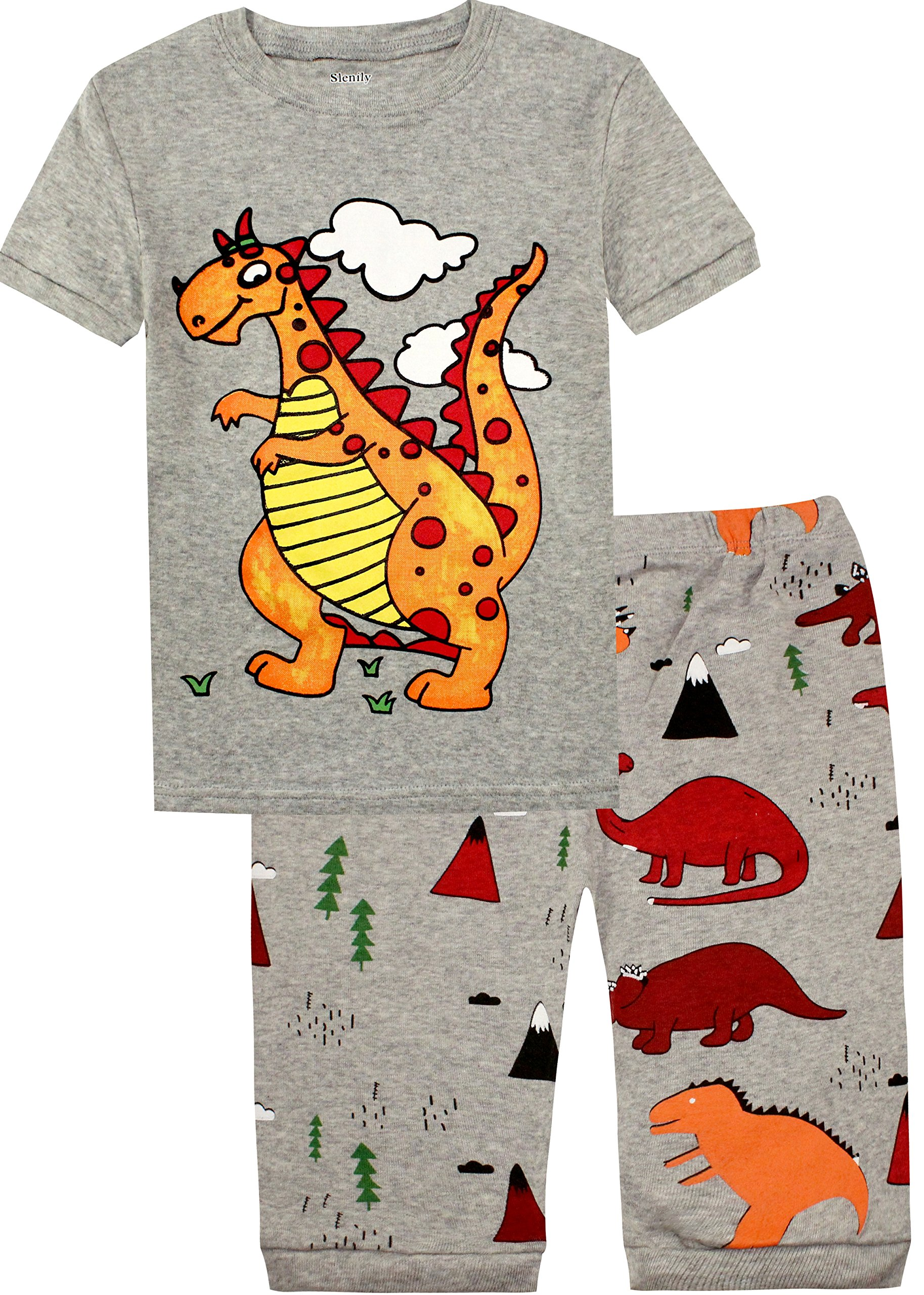 Slenily Boys Cute Dinosaur Pajamas Set 100% Cotton Toddler Kid Nightwear Size 7