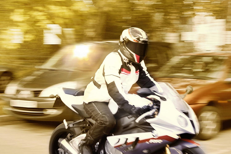 XL EU 52-54 , Blanco Azul JET Chaqueta Moto Hombre Textil Impermeable con Armadura Aquatex