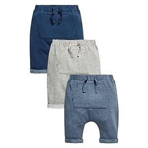 next Garçon Bébé Lot De Trois Pantalons De Jogging Gris, Bleu Marine Et Bleu (0 À 2 Ans)
