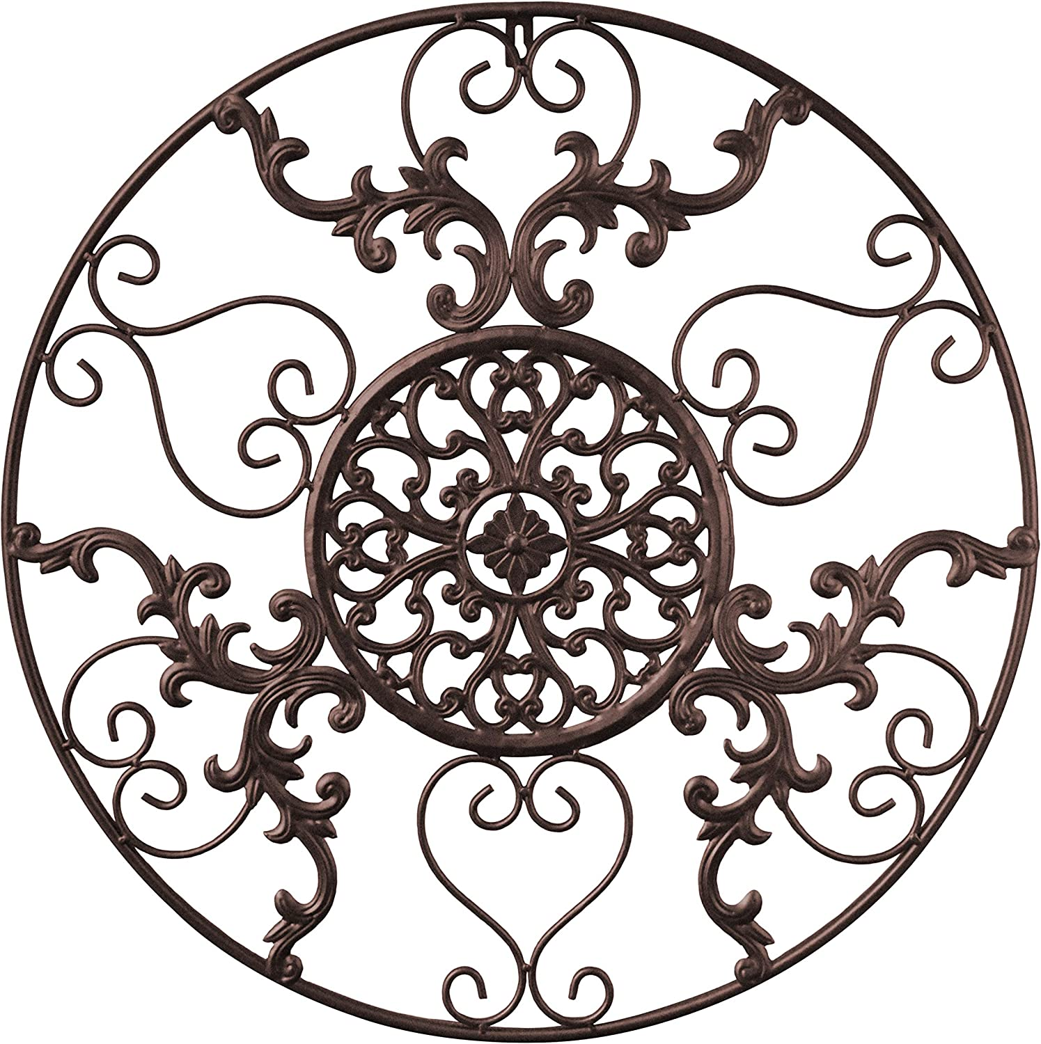 GB HOME COLLECTION gbHome GH-6775BRN Metal Wall Decor Decorative Victorian Style Hanging Art Steel Decor Circular Medallion Design Espresso Brown Circle 23.5 x 23.5 Inches