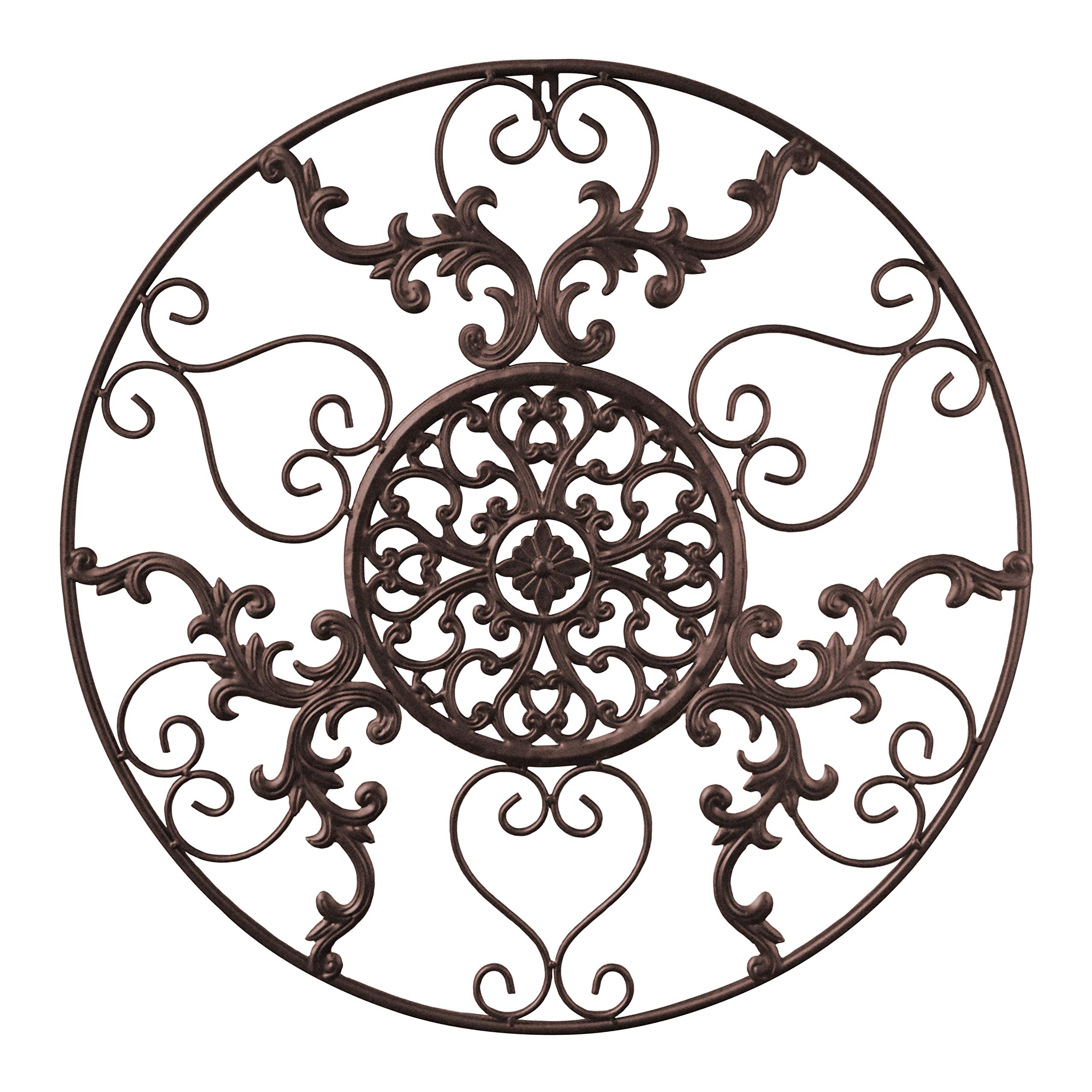 GB HOME COLLECTION Metal Wall Decor, Decorative Victorian Style Hanging Art, Steel Decor, Circular Medallion Design, 23.5 x 23.5 Inches, Espresso Brown Circle by GB HOME COLLECTION