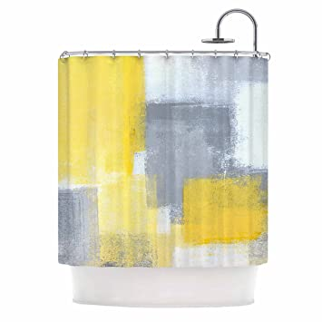 KESS InHouse CarolLynn Tice QuotSteadyquot Yellow Gray Shower Curtain