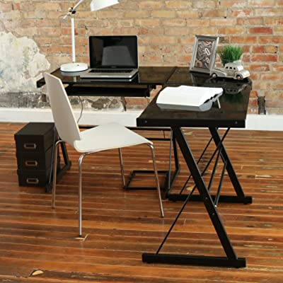 Walker Edison Soreno 3-Piece Corner Desk, Black with Black Glass review