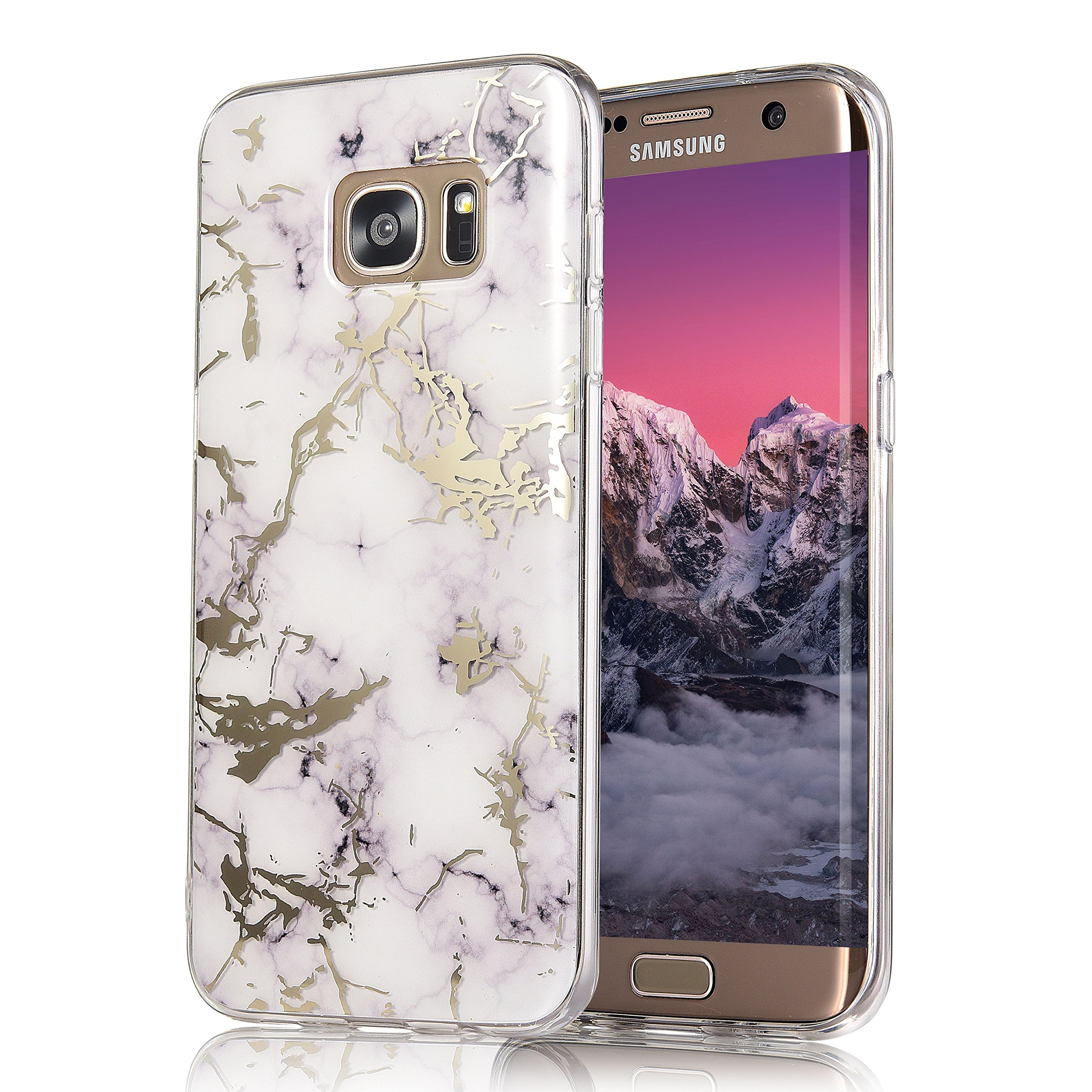 Galaxy S7 Edge Case, COSANO Premium Quality [UV print Semi-transparent Case] for Samsung Galaxy S7 Edge (5.5 inch) Scratch Resistant Shock-Absorbing Case Soft Flexible TPU (White Marble S7edge) by COSANO