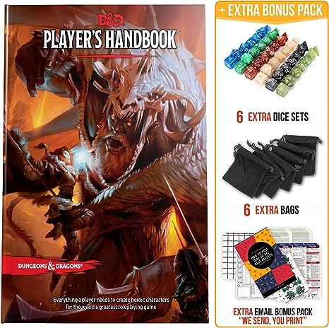 Manual del Jugador, calabozos y Dragones, 5ta edición con Dados DND y Kit Completo imprimible, Libro de Reglas D&D 5e, Juego de Regalo para Principiantes D&D: Amazon.es: Juguetes y juegos